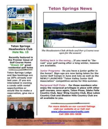 Teton springs news